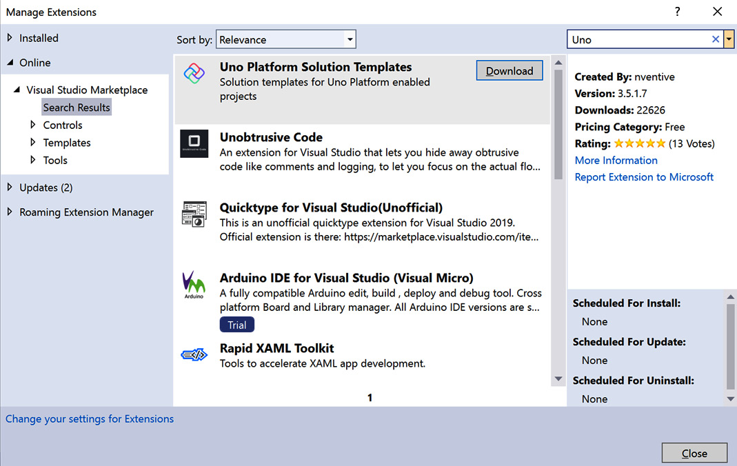 Figure 1.5 – Uno Platform Solution Templates shown in the Manage Extensions dialog