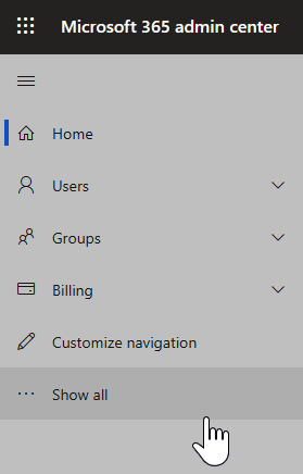 Figure 1.1 – The left navigation pane of the Microsoft 365 admin center