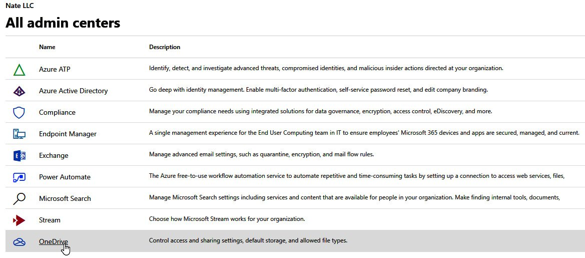 Figure 1.2 – All admin centers available to a user displayed in the Microsoft 365 admin center