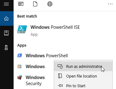 Figure 1.4 – Right-clicking PowerShell from Start menu provides Run as administrator option