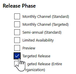 Figure 1.9 – The Microsoft 365 Roadmap filter pane's Release Phase section