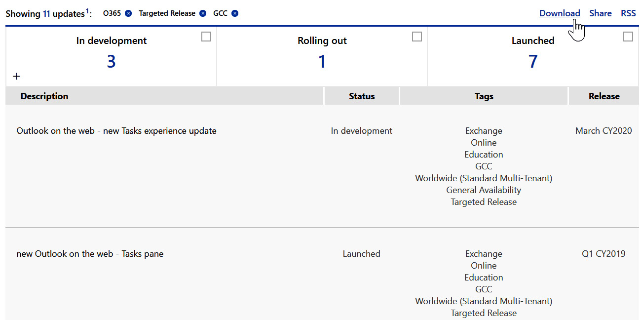 Figure 1.10 – A view of the Microsoft 365 roadmap when filtered to show O365  Targeted Release for GCC