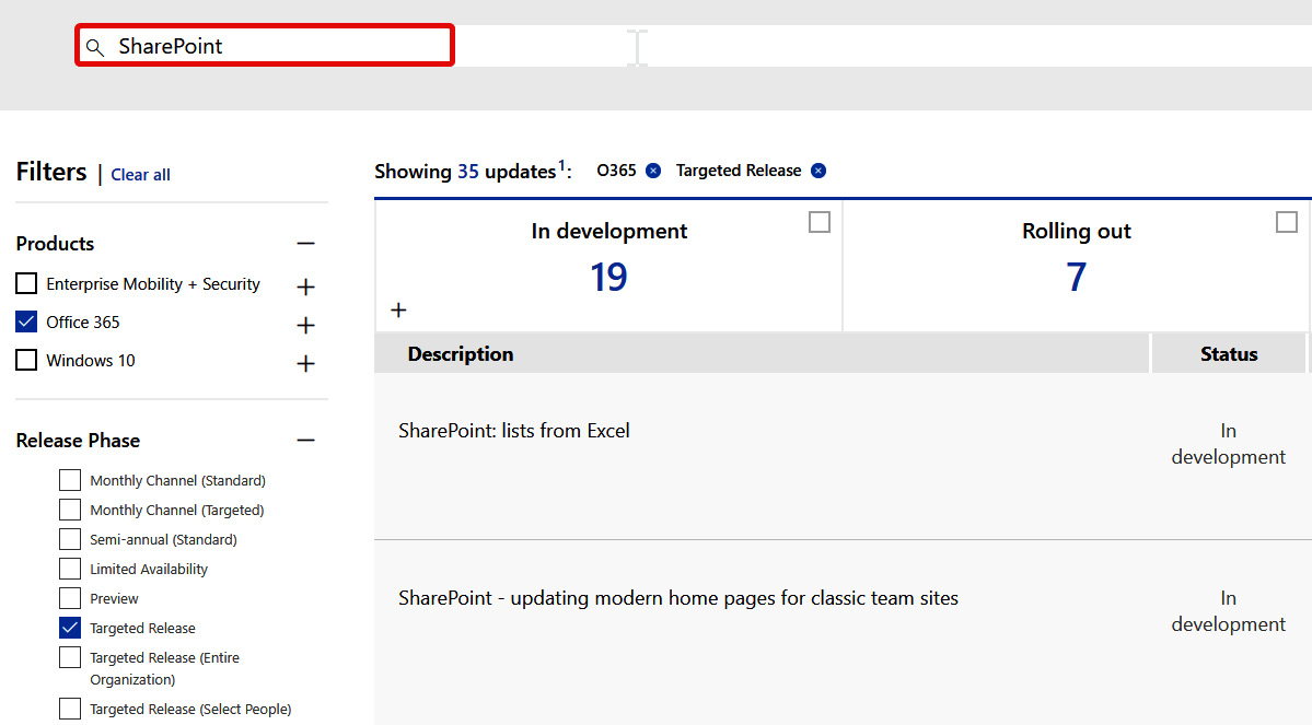 Figure 1.11 – The Microsoft 365 Roadmap's search function
