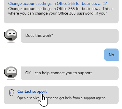 Figure 1.17 – Contact support appears as an option when the assistant cannot help