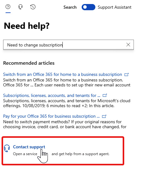 Figure 1.19 – When searching instead of using the assistant, Contact support appears at the bottom