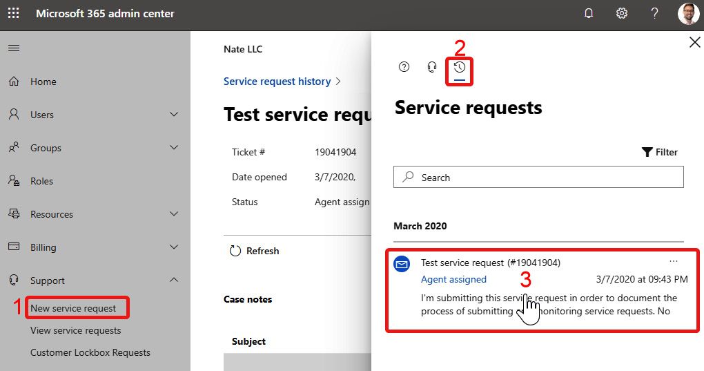 Figure 1.22 – Service request history is available from the New service request pane as well