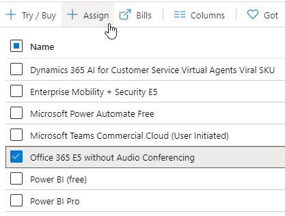 Figure 1.34 – Assign option in Azure AD when assigning an Office 365 license