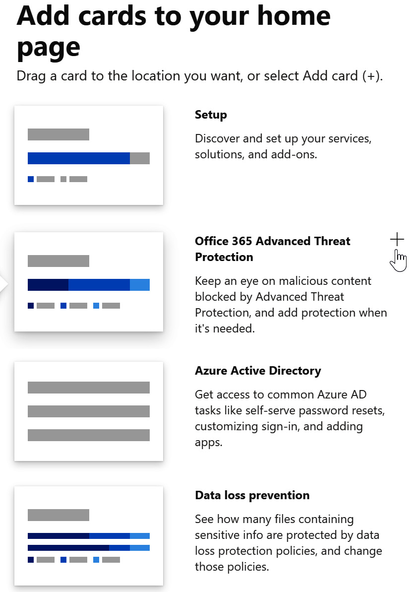 Figure 1.40 – Some of the available card options to choose for the Microsoft 365 admin center