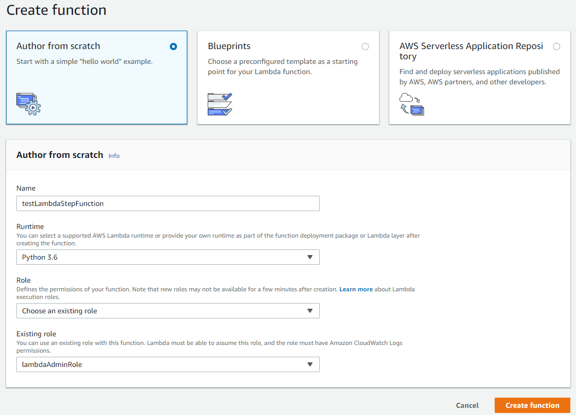 Creating an AWS Step Functions connection to AWS Lambda using the