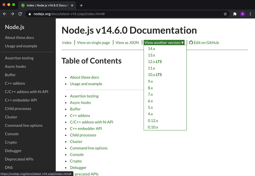 Figure 1.2 – Node.js API documentation showing the version dropdown