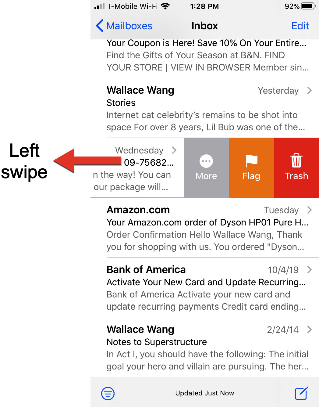 Figure 1.7 – Swiping left displays a list of options for an item in a list