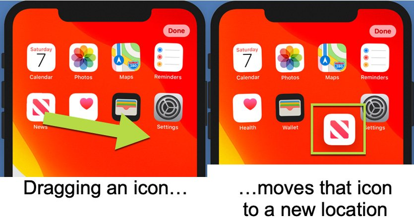 Figure 1.19 – Dragging lets you move an icon on the Home screen