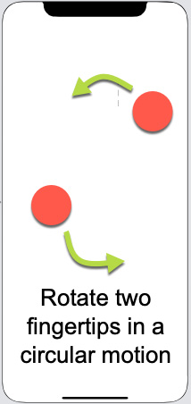 Figure 1.24 – The rotation gesture involves two fingertips moving in a circular motion