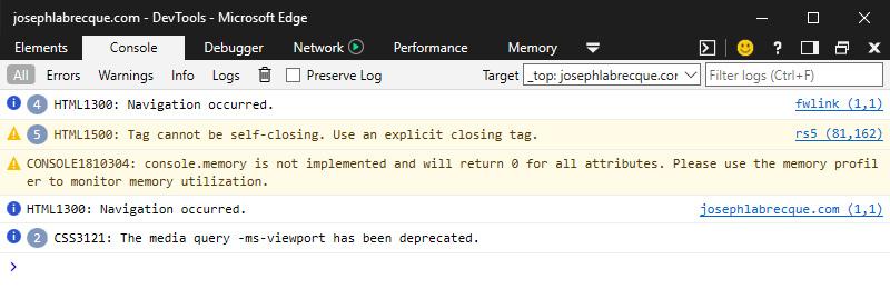 Figure 1.9: Microsoft Edge Developer Tools