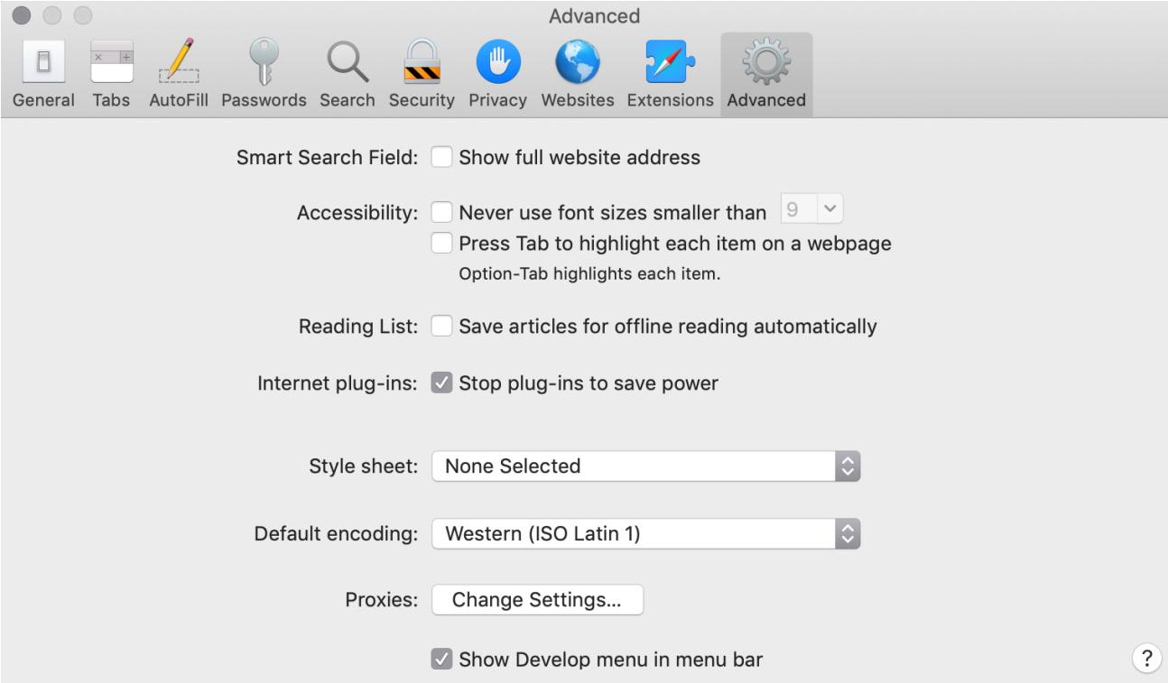 Figure 1.10: Apple Safari Advanced Preferences