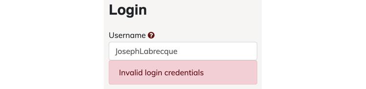 Figure 1.13: Form validation on a login