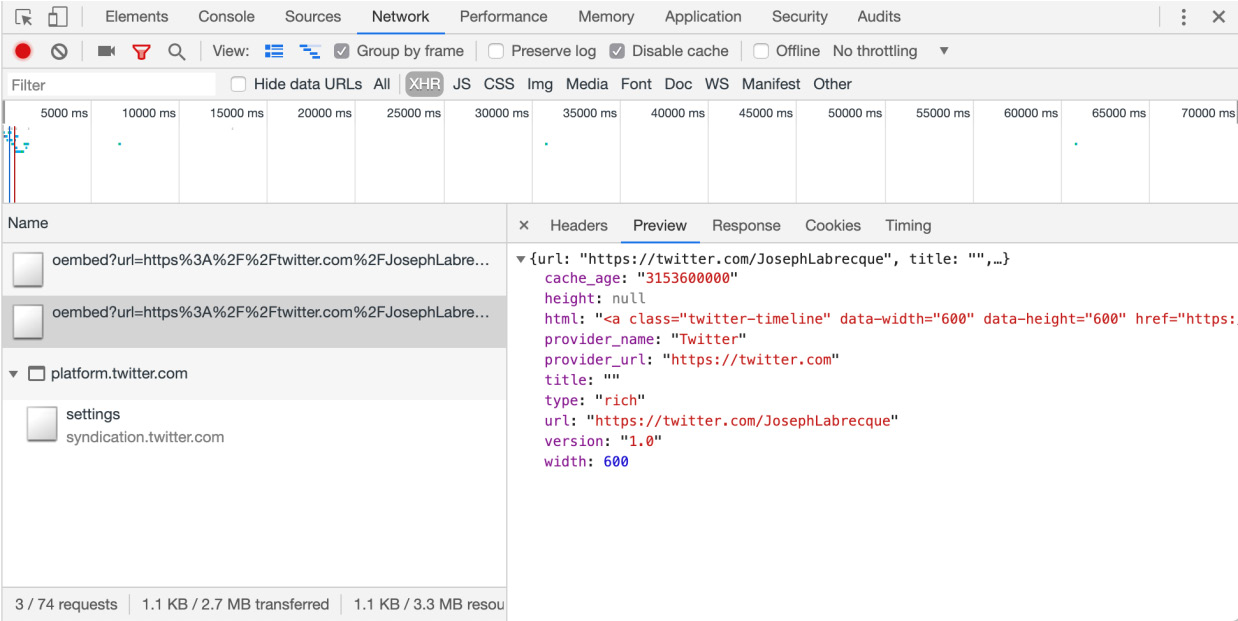 Figure 1.15: XHR network preview in Chrome