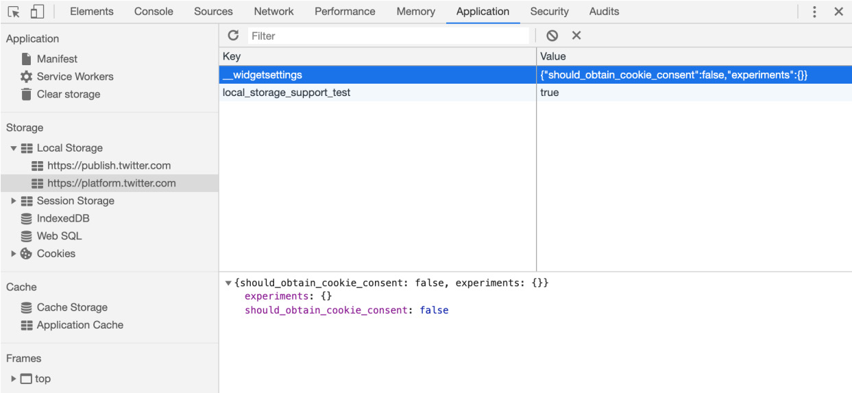 Figure 1.16: Local storage inspection in Chrome