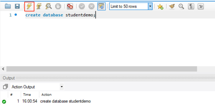 Figure 1.7: Creating the studentdemo database