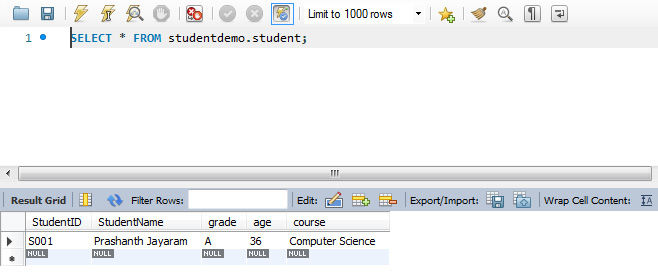 Figure 1.14: Values inserted into the database