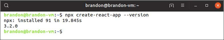 Figure 1.4: Checking the Create React App version