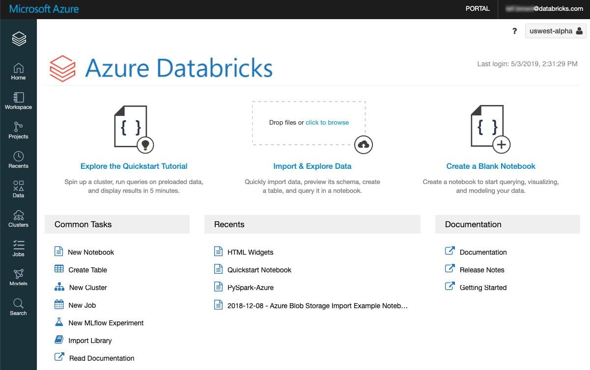 Figure 1.4 – Databricks workspace. Source: https://docs.microsoft.com/en-us/azure/databricks/workspace/