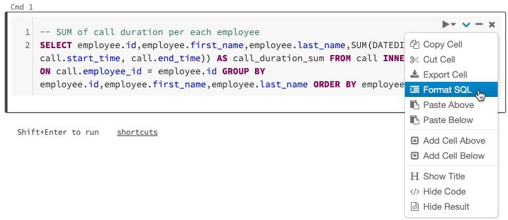 Figure 1.24 – Automatic formatting of SQL code