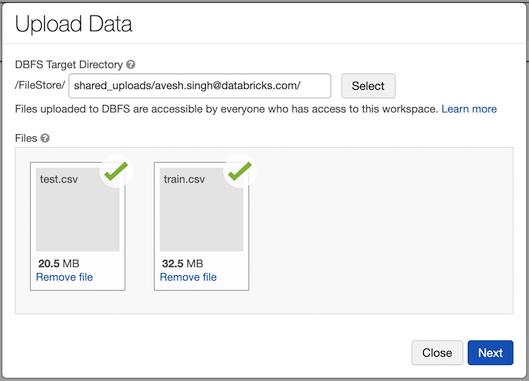 Figure 1.27 – Uploading the data UI