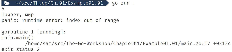 Figure 1.01: Output displaying an error