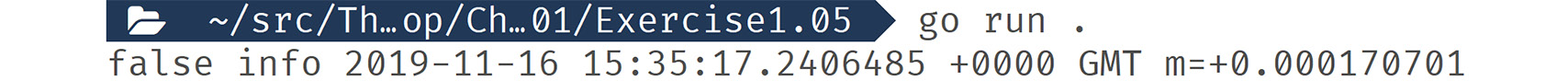 Figure 1.08: Output displaying the variable values that were printed after  using short variable declaration notation