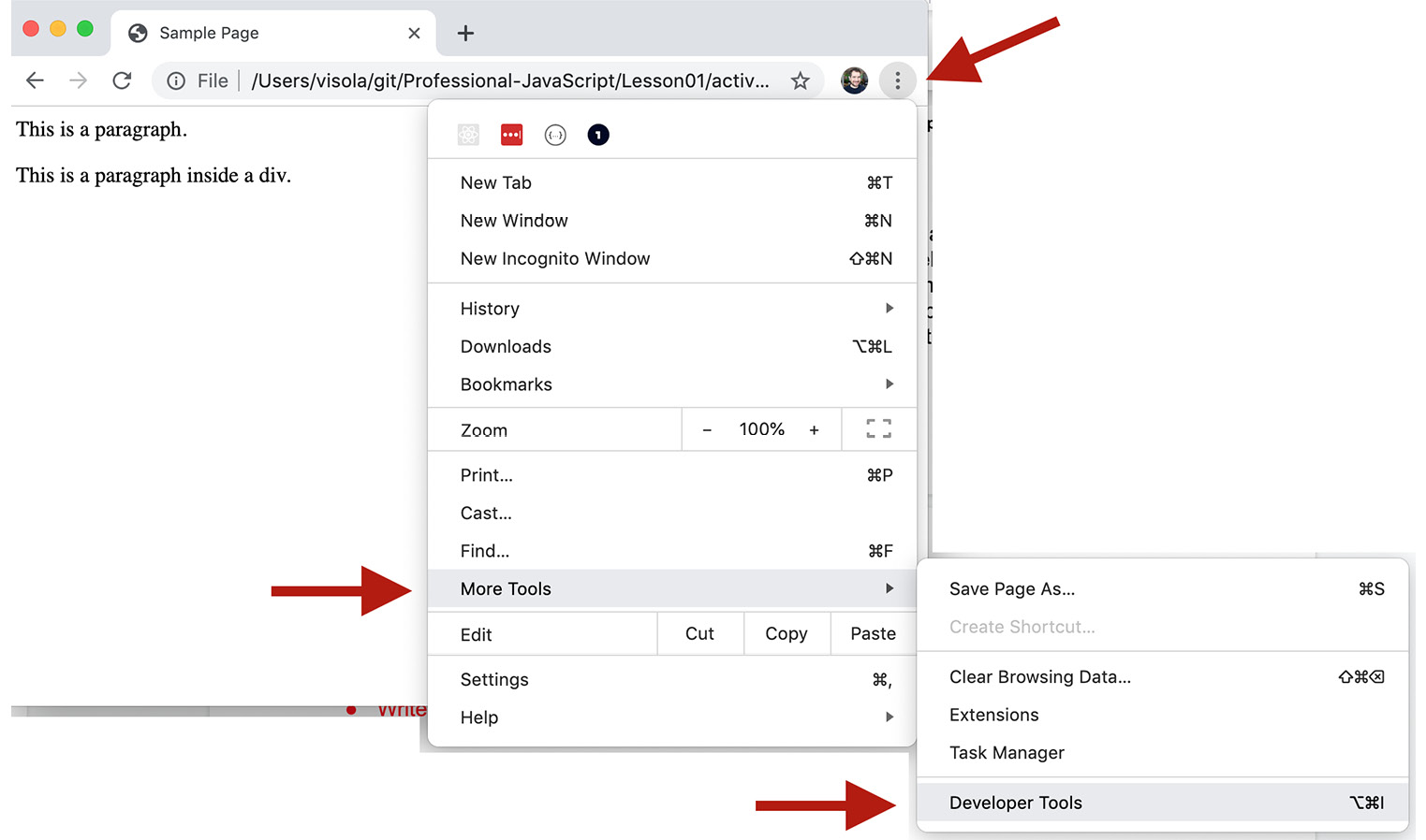 Figure 1.4: Accessing the developer tools in Google Chrome