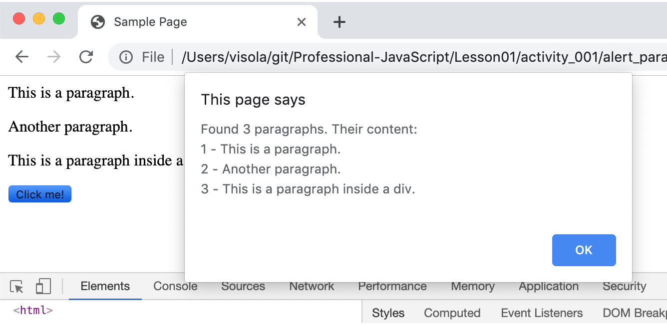Figure 1.12: Alert showing the content of all paragraphs, including the one added to the page