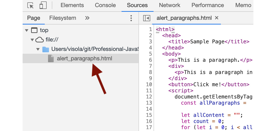 Figure 1.17: Sources tab showing where to find your source files
