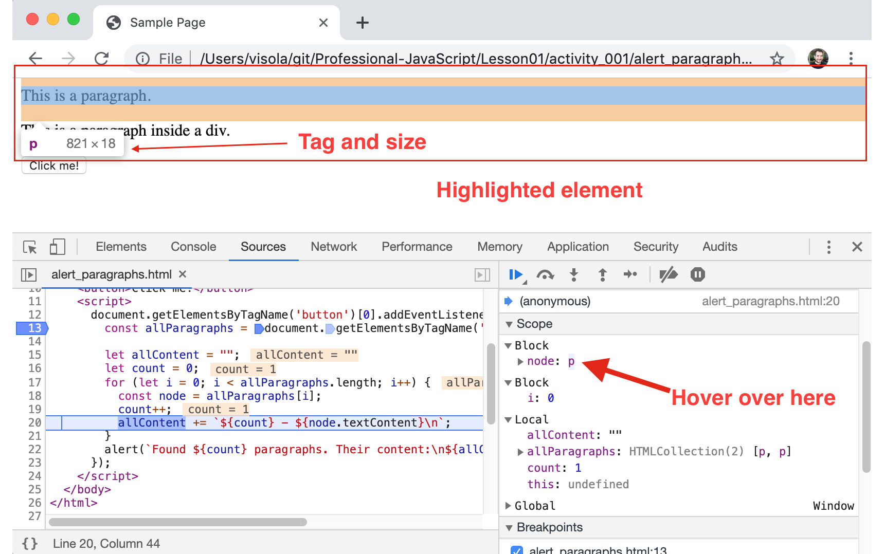 Figure 1.24: Chrome highlights DOM elements when you hover over them in various places