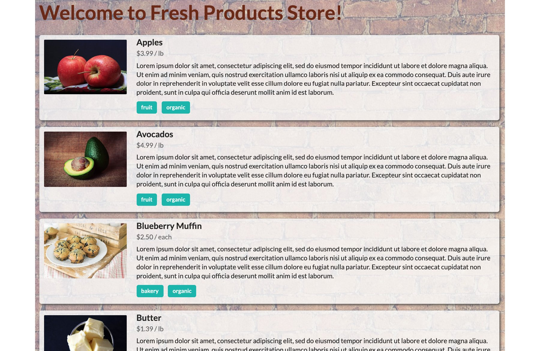 Figure 1.25: Screenshot of the storefront sample page