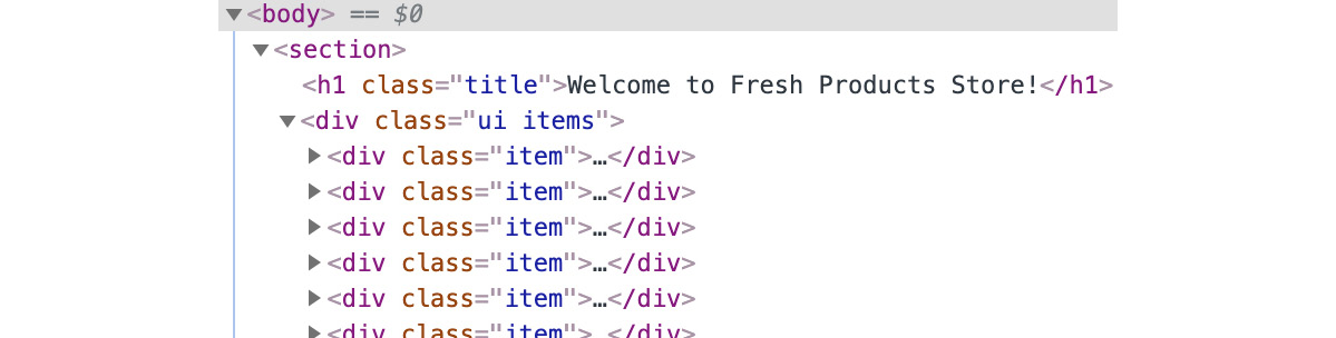 Figure 1.26: The DOM tree for the storefront page is very simple