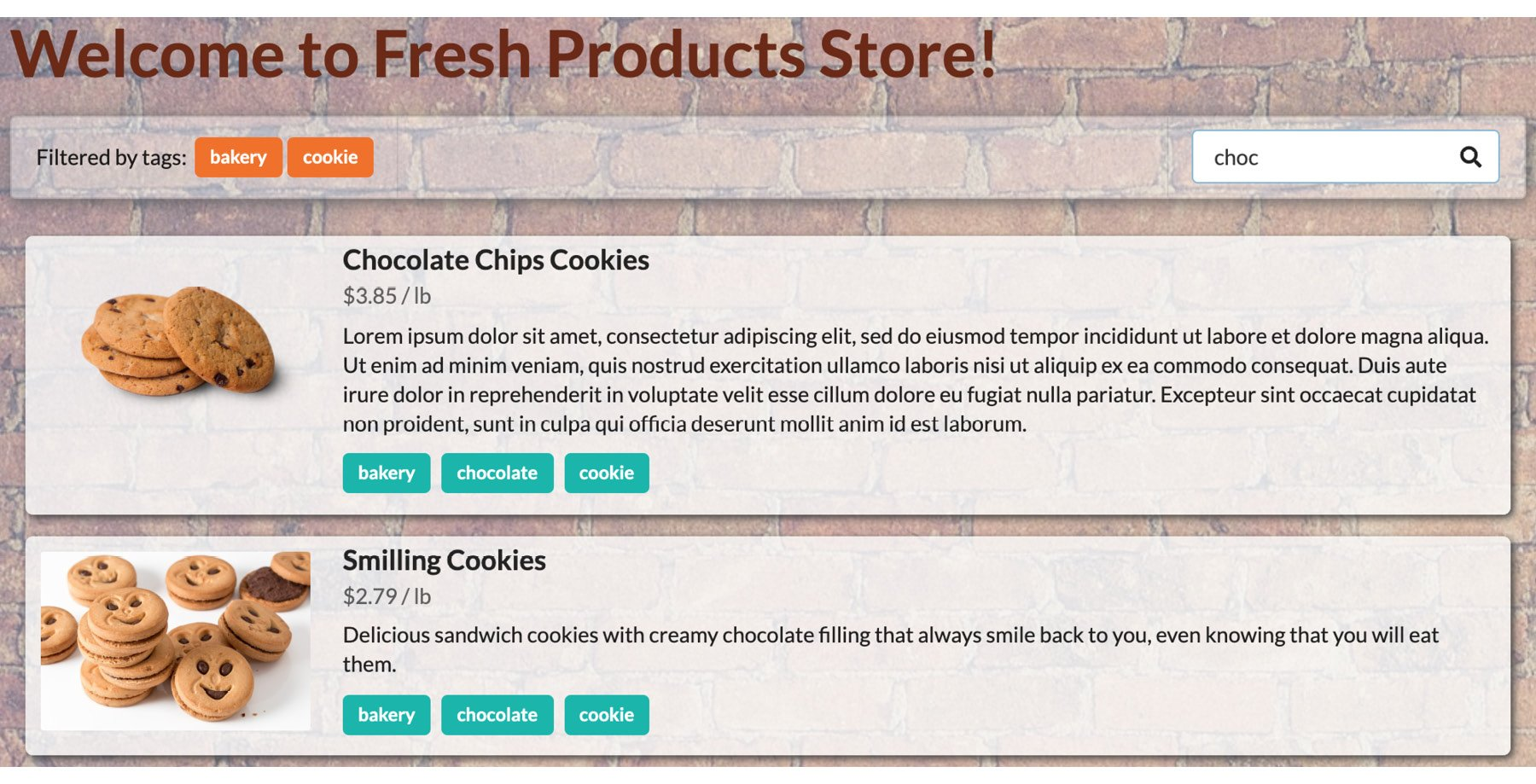 Figure 1.51: The storefront filtered by the two bakery and cookie tags and the word chocolate