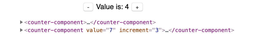 Figure 1.58: The counter component and how it is used in HTML