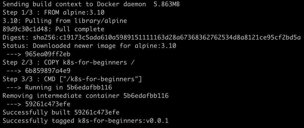 Figure 1.12: Output of docker build command