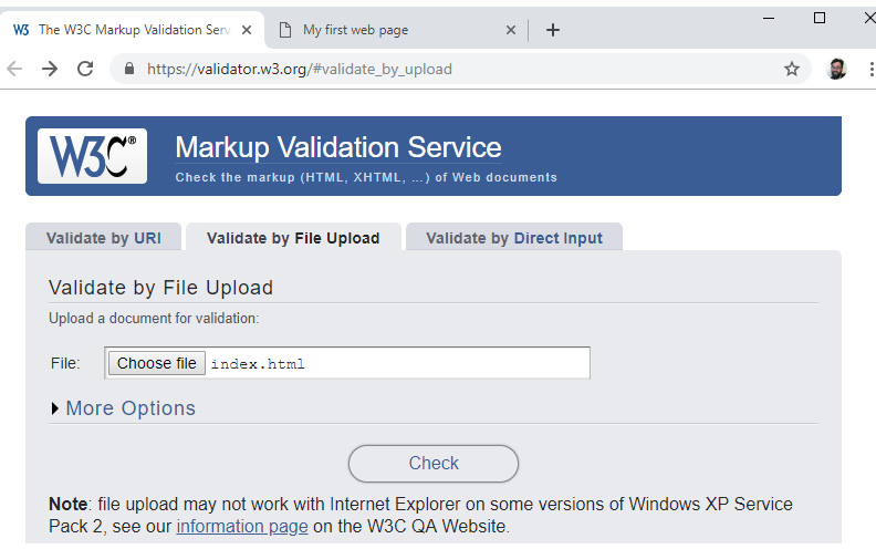 Figure 1.13: The W3C's Markup Validation Service
