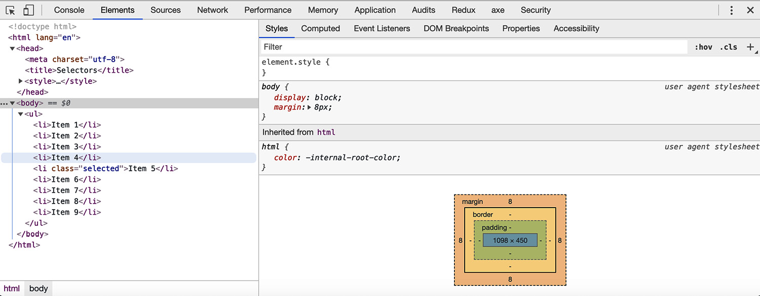 Figure 1.33: Chrome developer tools (Elements tab)