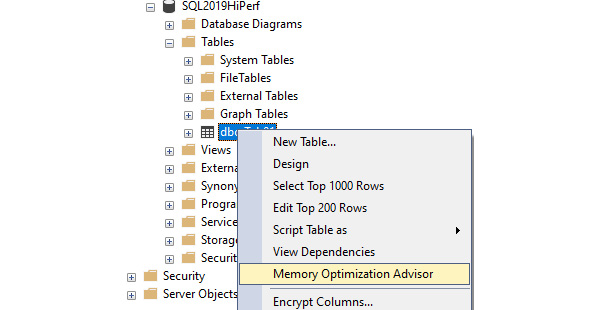 Figure 1.5: Selecting the Memory Optimization Advisor