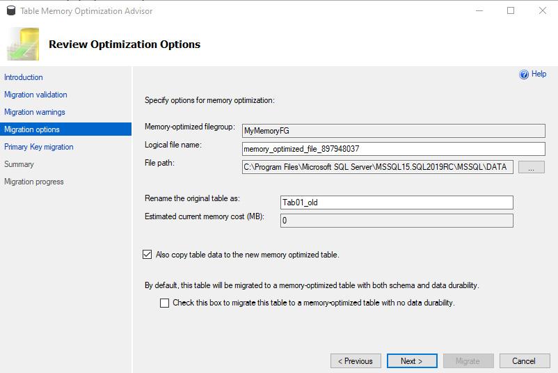 Figure 1.9: Review Optimization options