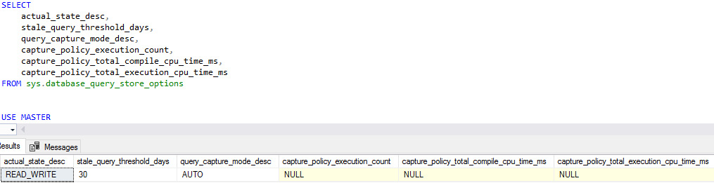Figure 1.17: Verifying and validating the Query Store settings