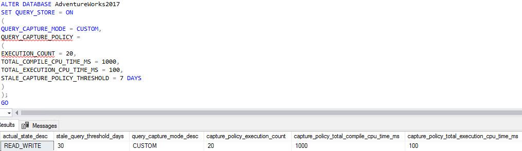 Figure 1.18: Modifying the default settings