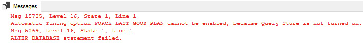 Figure: 1.20: Error report if the Query Store is off