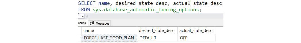 Figure 1.21: Verifying the status of automatic tuning on the database