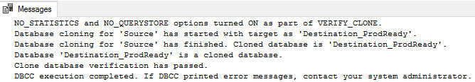 Figure 1.26: Verifying the cloned database