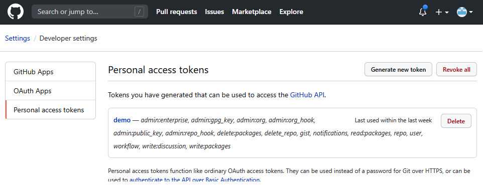 Figure 2.3 – The screen for getting the token