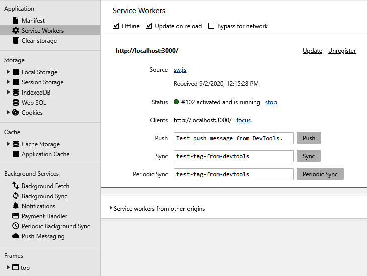 Figure 2.5 – The Service Workers section of the Application tab